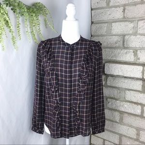 Madewell Plaid Ruffle Front Blouse